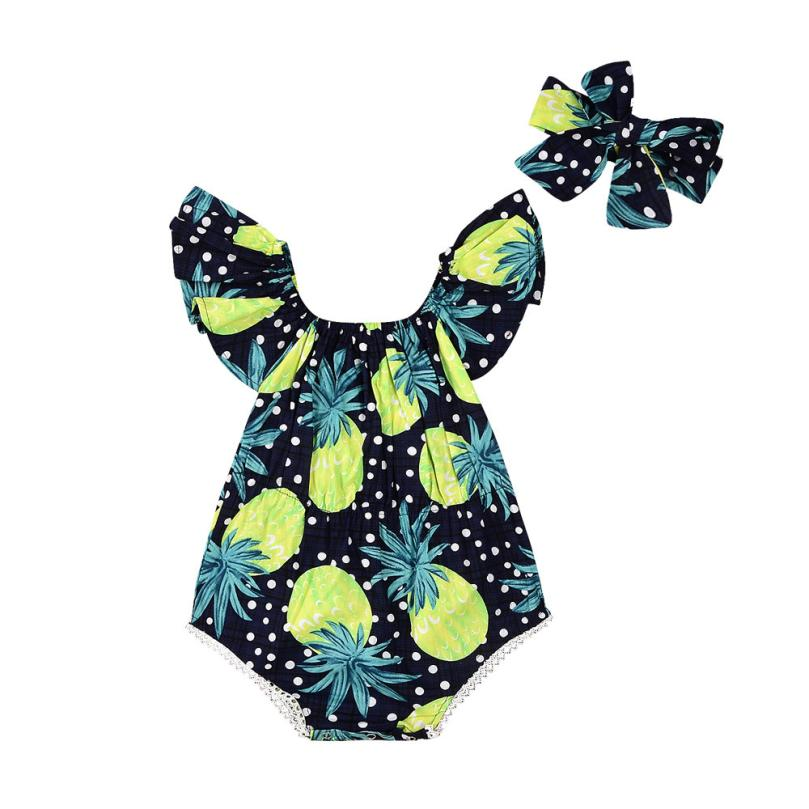 2Pcs/Set Newborn Infant baby girl summer clothes Floral Backcross baby Romper Jumpsuit One-Piece Sunsuit +Headband roupa de bebe cute newborn baby girl bodysuit headband outfits floral sunsuit clothes flower infnat toddler girls summer 3pcs set playsuit