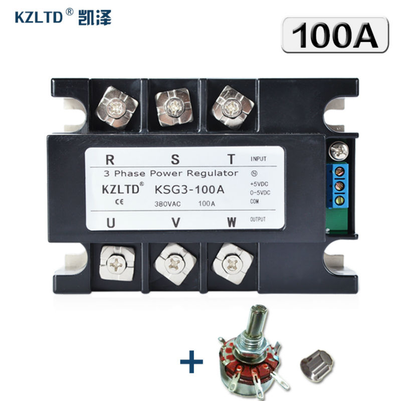 KZLTD Isolated Three Phase Solid State Relay SSR 100A SSR Relay Three Phase Power Regulator 100A 380VAC Voltage Regulator Module