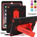 Противоударный Heavy Duty Чехол Для iPad Air 2 Защиты Кожи Резина Гибридный Крышка Случая Стойки Для iPad 6