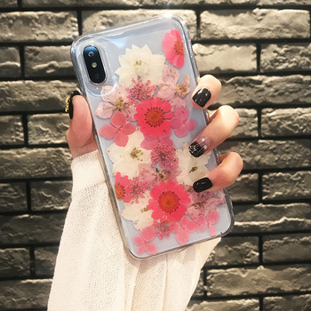 Clear Phone Case For iPhone X Fashion Real Dried Flower Cases Lovley Floral Back Cover For iPhone 8 6S 6 7 Plus XR XS 11 pro MAX 1