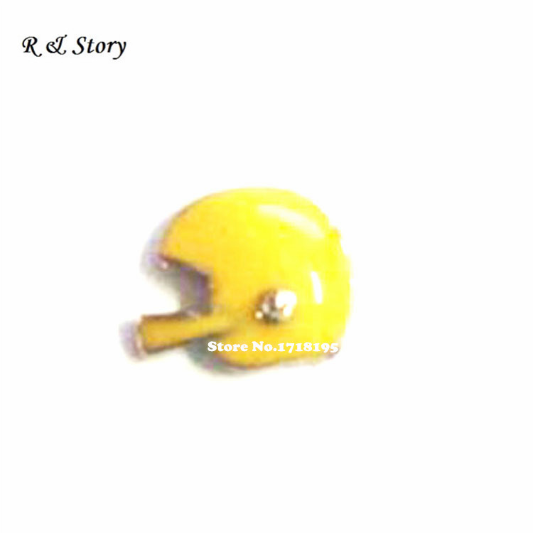 Football Yellow Helmet Silver Metal Floating Charm for Glass Lockets LFC_1646