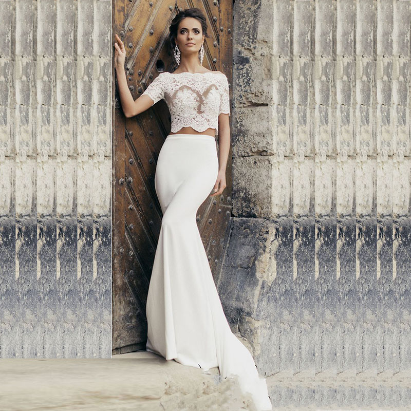 LORIE Two Piece Wedding Dress Boho Boat Neck Appliques Lace Short Sleeve Bride Dress Mermaid Wedding