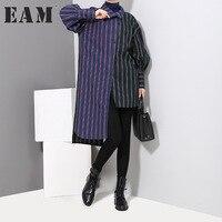 EAM 2018 New Spring Lapel Long Sleeve Blue Green Split Joint Irregular Dress Solid Color