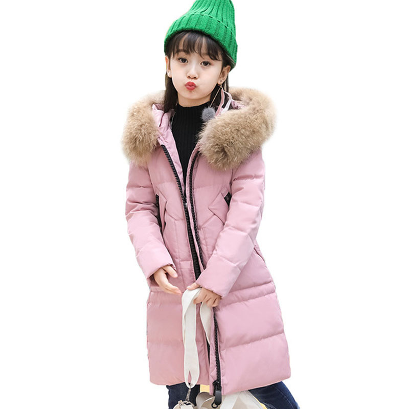 New Children Winter Jackets Girls White Duck Down Coat Kids Warm Outerwear Real Fur Collar Hooded Overcoat Parkas Clothes E243 girls parkas kids clothes winter outerwear girls hooded overcoat thicken warm long coat girl faux fur collar parkas age 3 13 y