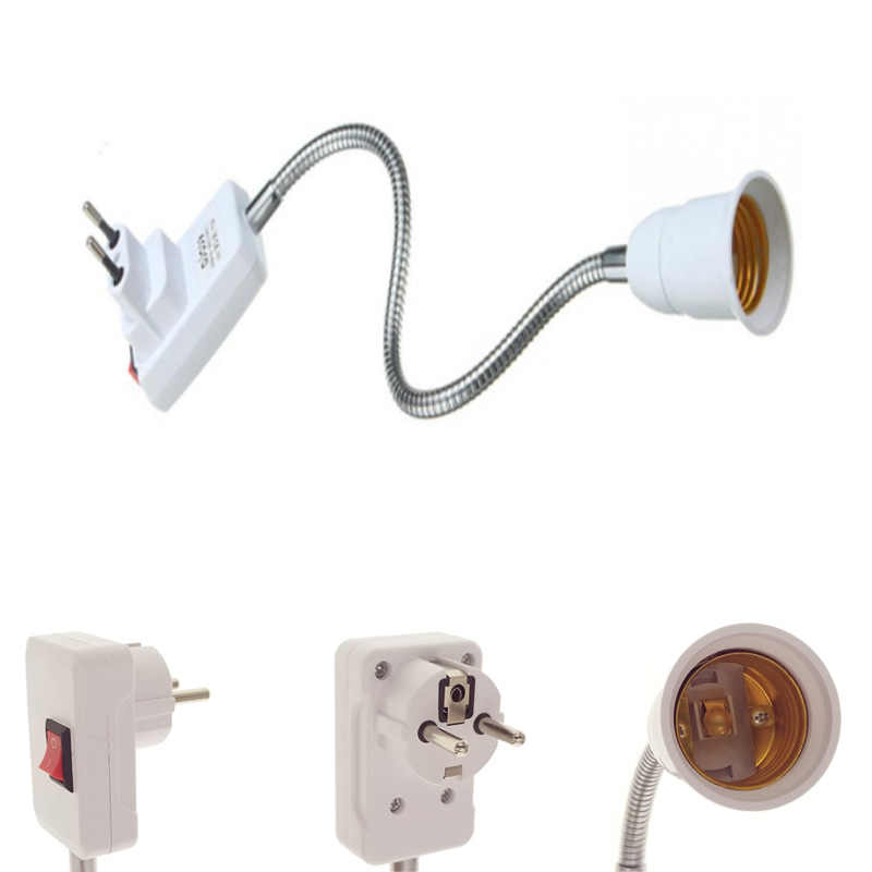 New Flexible E27 Light Lamp Bulb Adapter Extend Extension Converter Wall Base Holder Screw Socket EU Plug white+silver