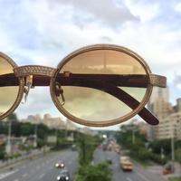 Handmake Luxury DIAMOND Brand Designer Carter Sunglasses Women Rhinestone Carter Glasses Wood Sunglass Men Wooden Sun Glass