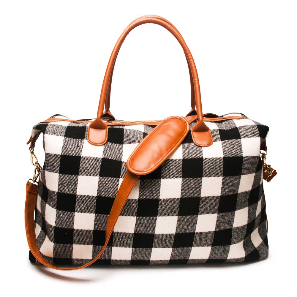 Wholesale Supplier Plaid Travel Duffle Bag Luxury Brand Large Capacity Sleepovers Weekend Tote Bags PU Handle Mom Overnight Bag