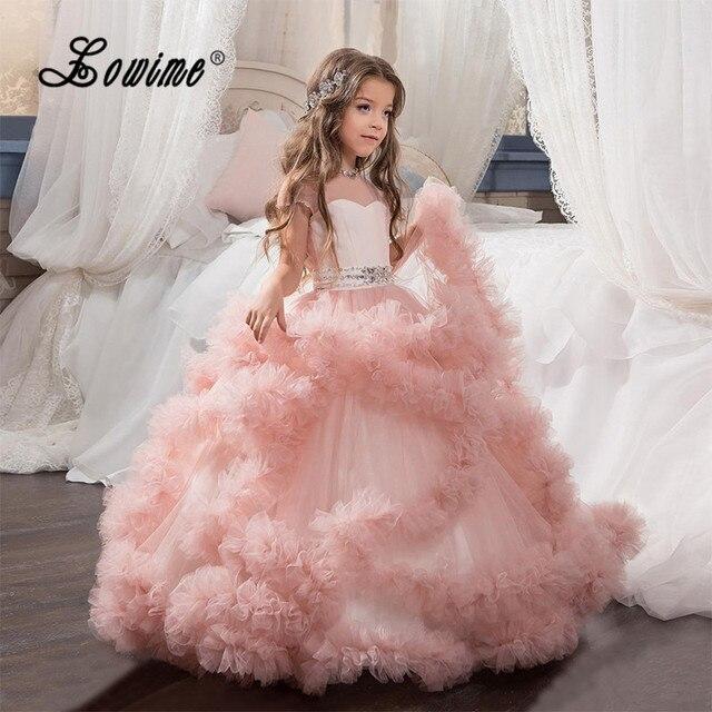 Bola rosa Vestido de Niña de las Flores Vestido Nube Crystal ...