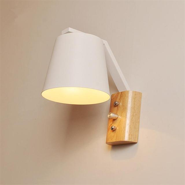 Nordic wood modern led wall lamps minimalist bedside wall lights nordic wood modern led wall lamps minimalist bedside wall lights adjustable metal reading lighting aisle foyer mozeypictures Gallery