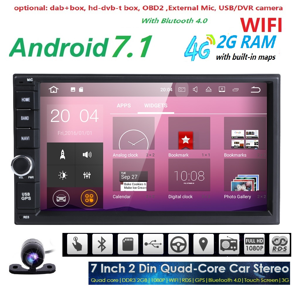 universal 2 din android 7.1 car radio Car Multimedia Player for nissian Car PC Table car ...