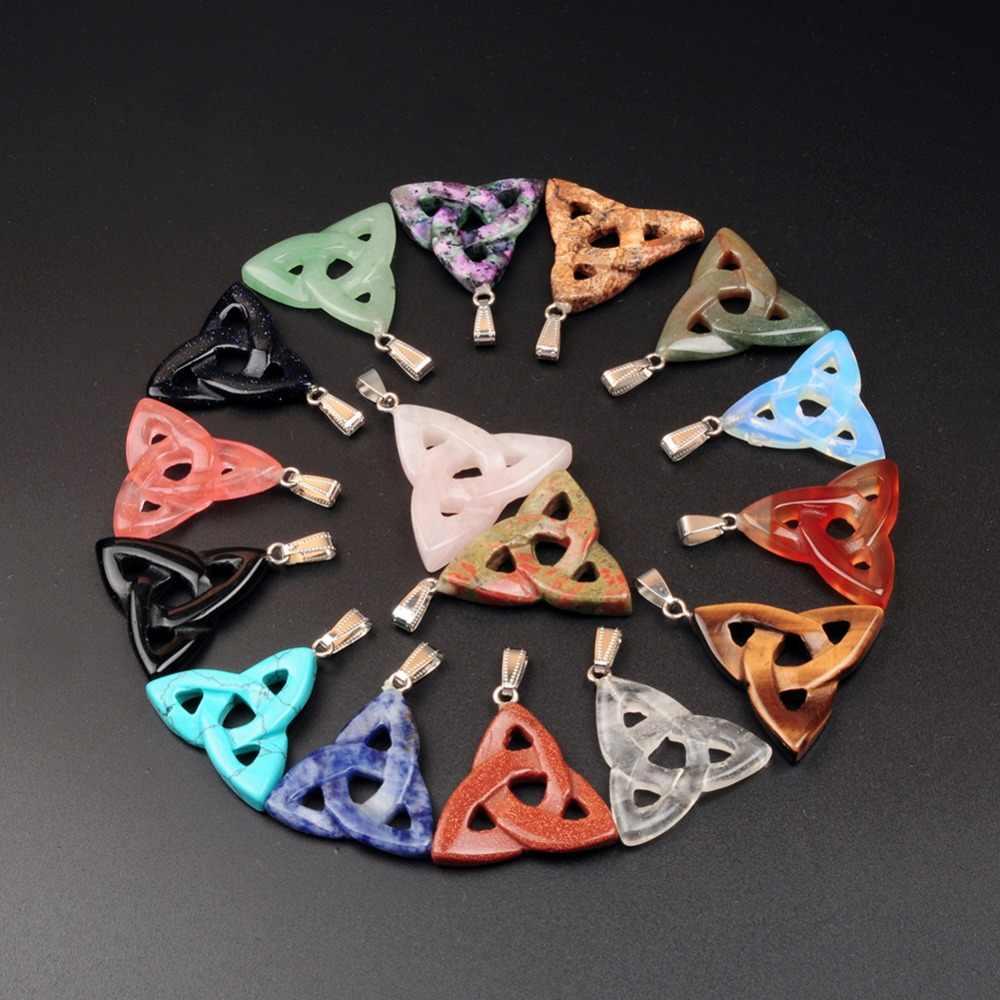 ใหม่มาถึงไอริช Celtic Triquetra Trinity Knot Magic Amulet สีชมพูสีชมพูควอตซ์ Carnelian โอปอลโชคดี Powers สามเหลี่ยมจี้