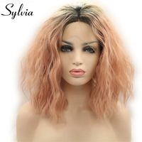 Sylvia Ombre Black To Smoke Pink Two Tones Color Loose Wavy Wig Short Curly Bob Synthetic