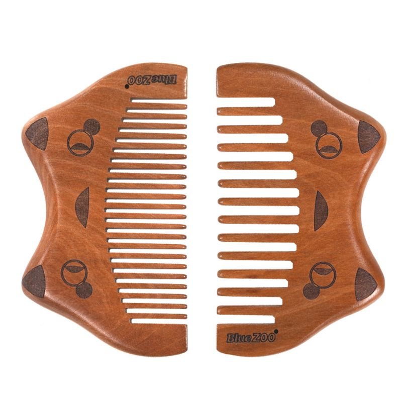 Natural Wood Anti-Static Comb Smooth Wide Fine Tooth Stream Linear Cute Cat Design Portable Massage Brush Hair Styling Tool