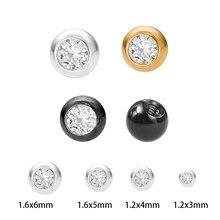 Piercing de zircônia cúbica 5, pçs/lote 3-5mm, substituição, externamente rosqueado, bola de cor de ouro 16g/14 bola de piercing de calibre, joia