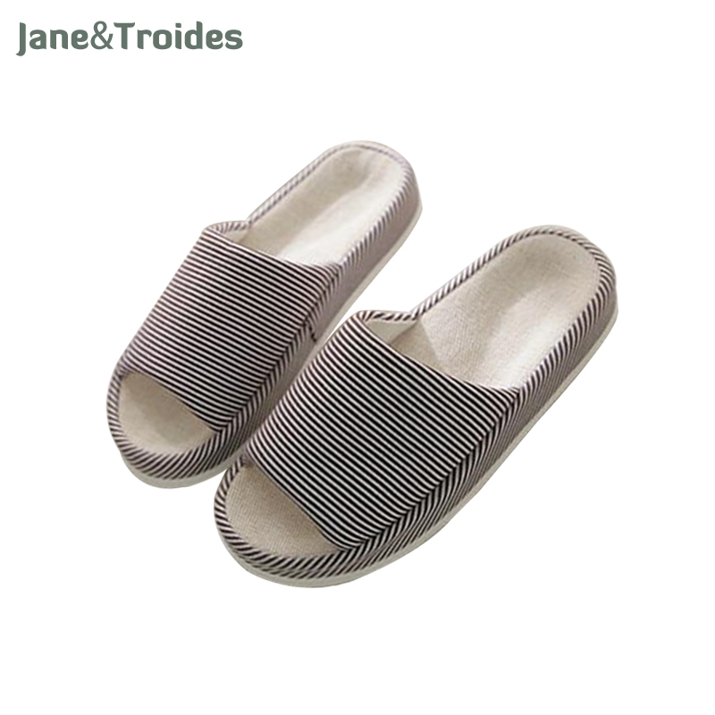Linen Home Men Slippers Open Toe Anti Slip Striped Flip Flops Casual Breathable Indoor Sandals Fashion Man Outdoor Shoes lanshulan bling glitters slippers 2017 summer flip flops platform shoes woman creepers slip on flats casual wedges gold