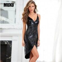 MUXU summer sexy black sequin glitter dress dresses vestidos de verano backless playa moda feminina