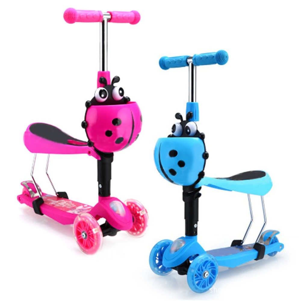 3 Modes Flashing Light Front Wheel Skateboard Children Scooter Adjustable Hand Bar Removable Seat For Toddler Kids Baby Walker three flashing wheels children scooter gravity steering foldable free installation for toddler kids walker outdoor free shipping