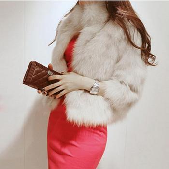 Women Winter Short Coat Loose Thick Artificial Fox Fur Collar Hairy Jacket Manteau Fausse Fourrure Femme Casual Faux Fur AL26 фото