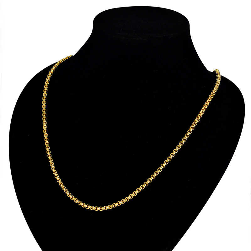 """3MM Gold Chain Small Necklace 18"""" 22"""" 24"""" Mens/Womens Necklaces Chains , Gold Color Vintage Jewelry collier or"""