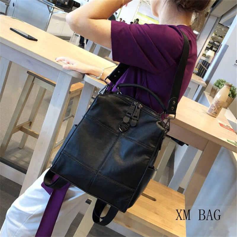 2019 retro mochila mujer marca de cuero de las mujeres de mochila de gran capacidad bolso chicas bolso de hombro casual Mujer