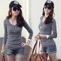 Manera más el tamaño mujeres clothing alishebuy camiseta tapas atractivas tee ropa de manga larga camiseta delgada