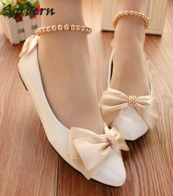 Sorbern Champagne Bow White Wedding Shoes Beading Ankle Straps 2018 Low  Heels For Bridals Ankle Strap d7ccc9ec6069