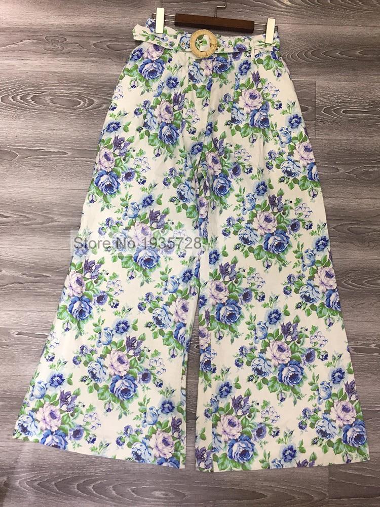 Imprimé dames Print Des Poches Nouveau Et Papier As Boucles Pantalon Été Linge Latérales Floral Pic De Bohème Avec 2018 Peint Jambe Ceinture Large Azur T1Yvqnw