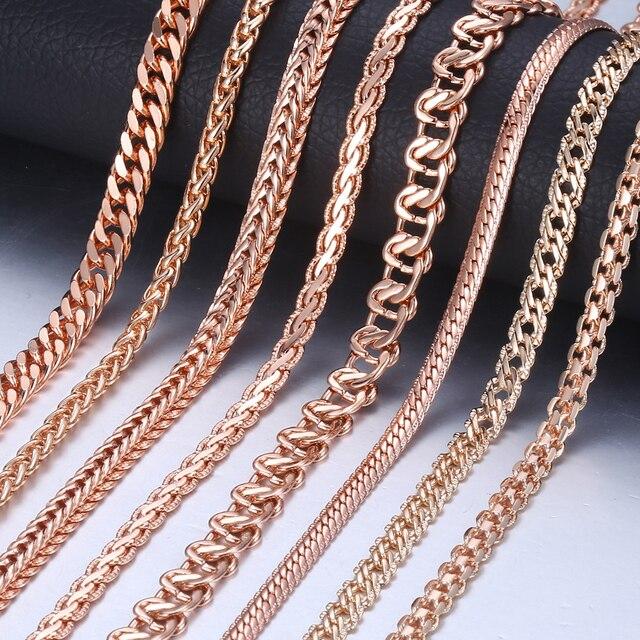 Уникальная цепочка с подвеской для женщин 585 розовое золото Снаряженная Улитка Золотая цепь цепочки и ожерелья для мужчин женщина ювелирные подарки 45 см 50 60 GNN1