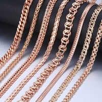Colar personalizado para mulheres 585 ouro rosa curb caracol ligação corrente colar de ouro mulher presente de jóias 45cm 50cm 60cm gnn1