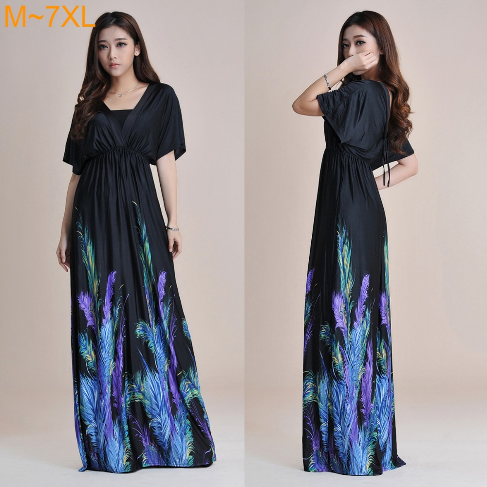 Buy Cheap Womens Bohemian V Neck Long Beach Dress High Waist Halter Ladies Summer Maxi Dress Feather Print Black Maxi Dress M~7xl