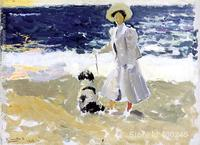 Spanish art Lady and Dog on the Beach by Joaquin Sorolla y Bastida paintings home decor Hand painted High quality