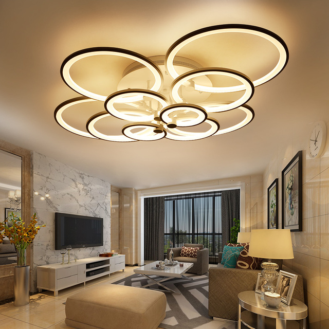 Gradation t l commande salon salle d tude chambre moderne led lustre blanc couleur surface mont.jpg 640x640 5 Élégant Lustre Chambre Moderne Hiw6