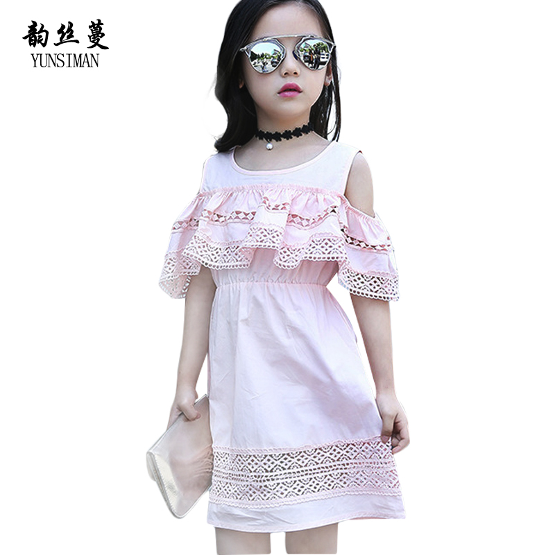 Girls Lace Dress 4 6 8 10 to 12 14 16 Years Summer Elegant Kids Hollow Out Knee Dresses Girl Princess Party Dress Vestidos 12C29 halter back pearl button summer dress women lace up bow irregular dress elegant 2018 spring party dress female vestidos b1043