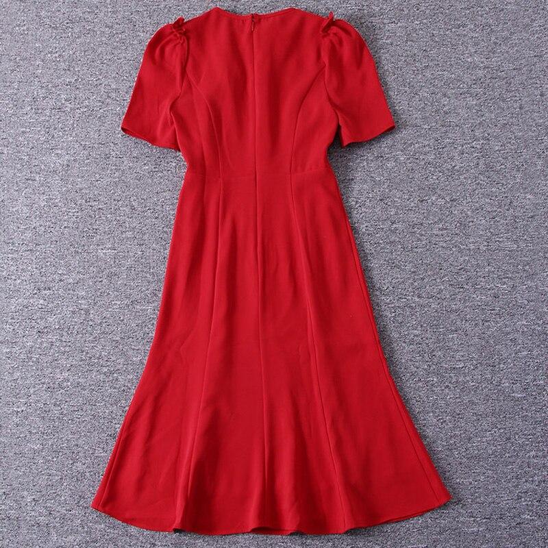 Kate Middleton sirène Milan Designer de piste de haute qualité été nouvelles femmes mode fête Sexy Vintage élégant Chic vert robe - 4