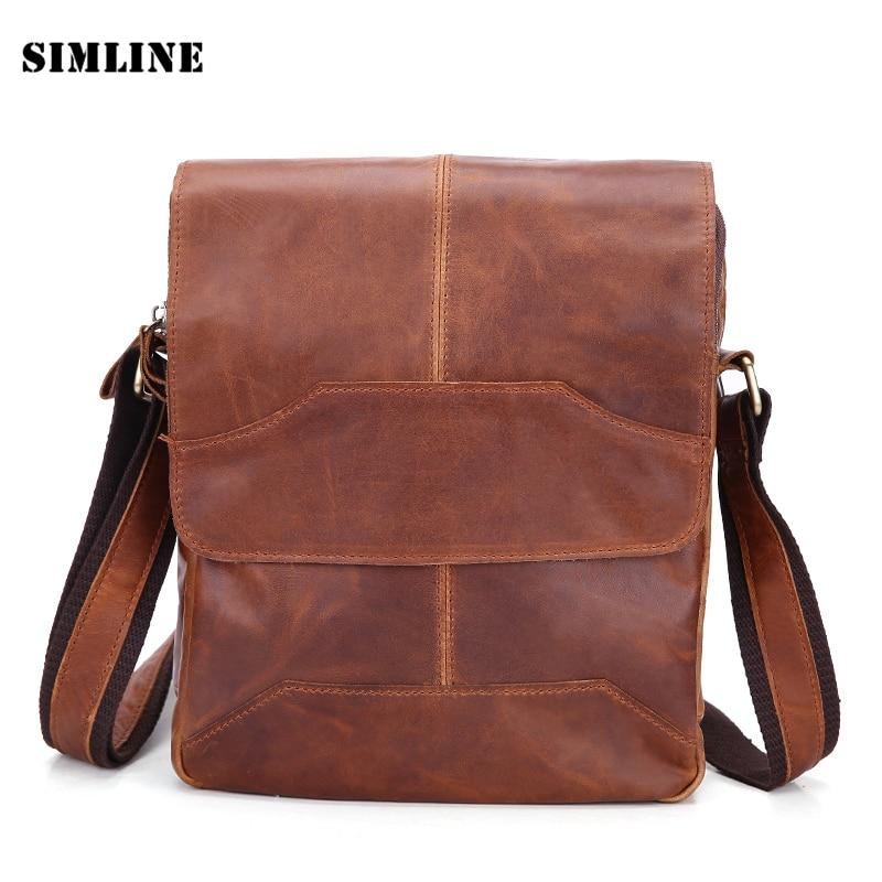 ФОТО New Luxury Vintage Designer Casual 100% Top Genuine Oil Wax Leather Cowhide Men Messenger Bag Shoulder Men's Cross Body Bag Bags