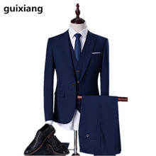 (Jacket+Vest+Pants) 2018 spring new style Men's fashion business suits Men high quality wedding suit jacket coat size S-5XL