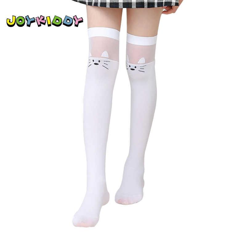 177ee1712b86 Children White Knee High Socks Kids 3-12T Summer Thin Cute Cartoon Cat  Striped Princess