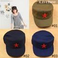 Nostálgico Estilo Sombreros Militares Del Ejército de China Hecho A Mano de Algodón Cap/Sombrero Estrella Roja Presidentes Partido Comunista de Mao