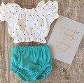 Ropa del Verano Del Bebé Cruz t-shirt + Verde Elástico Cortocircuitos de los PP Ropa Sistemas Del Bebé Infant Toddler Chica de Moda