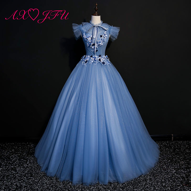 AXJFU princess navy blue lace flower   evening     dress   stage vintage high neck beading crystal blue bow host   evening     dress