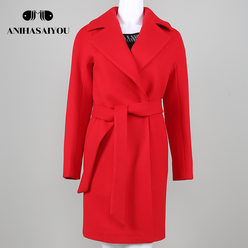 2018New Hot Sale Woman Wool Coat High Quality Winter Jacket Women Slim Woolen Long Cashm ...