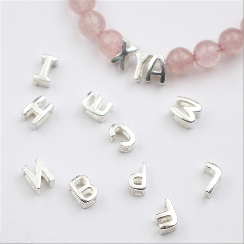1pcs/lot 925 Sterling Silver A-Z 26 English Letters Spacer Bead Position For Jewelry Making Bead Bracelets DIY Accessories
