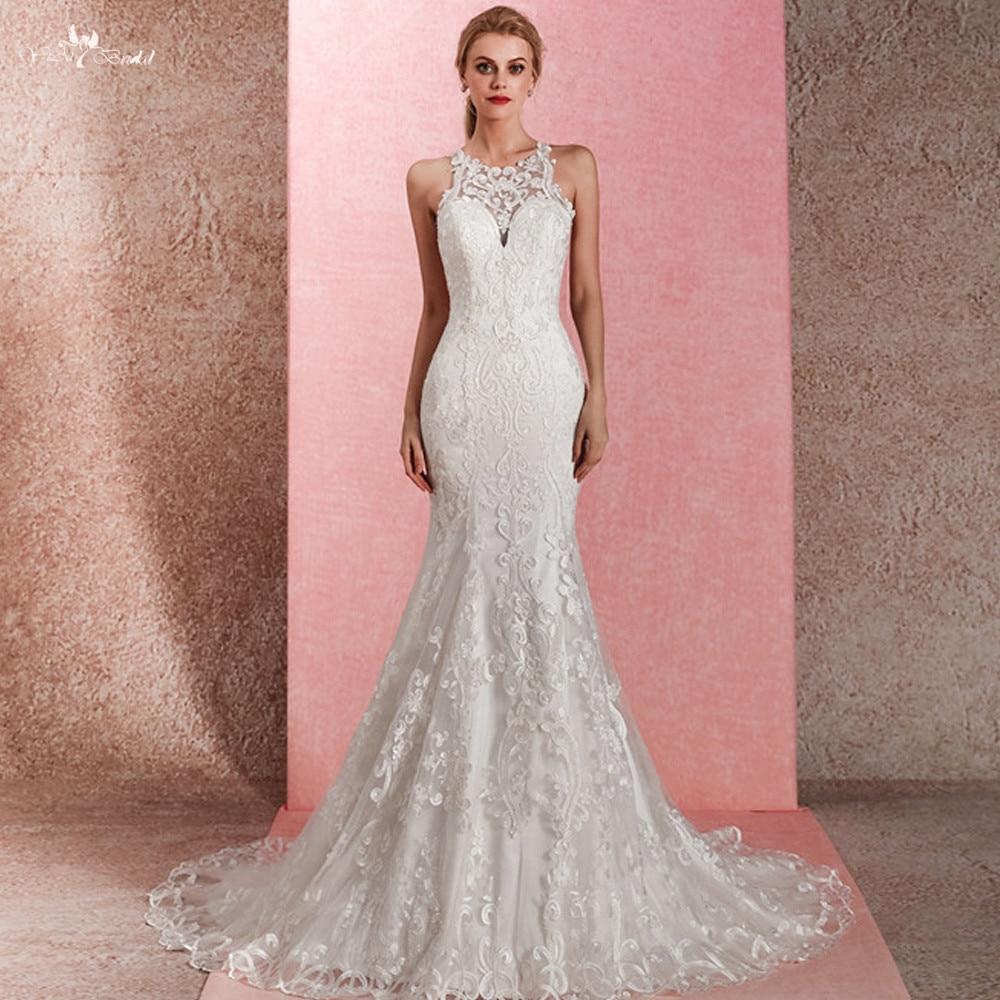 Lace Halter Wedding Gown: RSW1469 Halter Neckline Lace Mermaid Wedding Dress-in