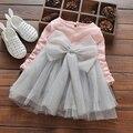 Meninas do bebê Vestir 2017 Verão Novo Estilo Casual Princesa Vestidos Roupa Dos Miúdos Arco Design Floral para As Meninas Do Bebê Vestido