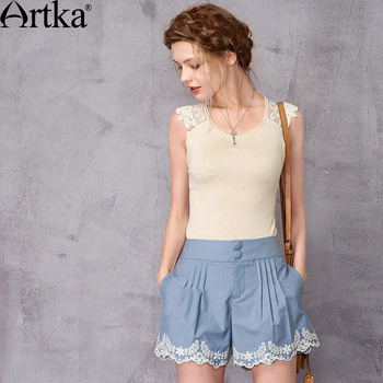 ARTKA Women's 2018 Summer 3 Colors Lace Patchwork Sleeveless Knitwear Vintage O-Neck Slim Fit All-match Knitwear YB10276X