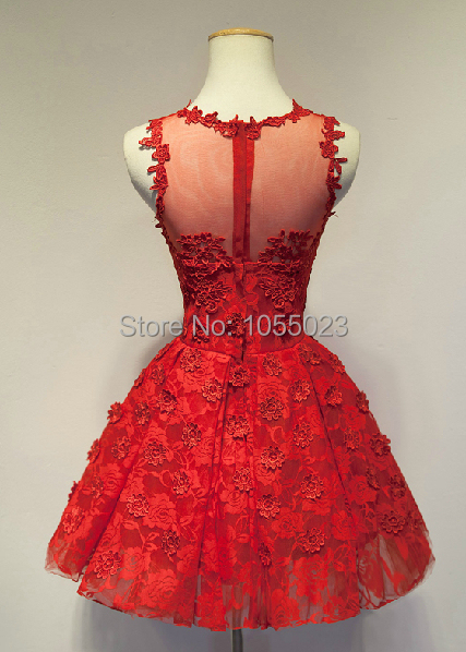 Real Photo Fast Shipping Cap Sleeves Red Lace Cocktail Dresses ...
