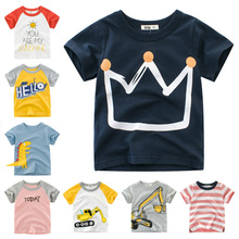 Summer Kids Boys T Shirt Crown Print Short Sleeve Baby Girls T-Shirts Cotton Children's T-Shirt O-Neck Tee Tops Boy Clothes love kids baby boys clothes cool summer superman short sleeve t shirt cotton tops clothes lxl