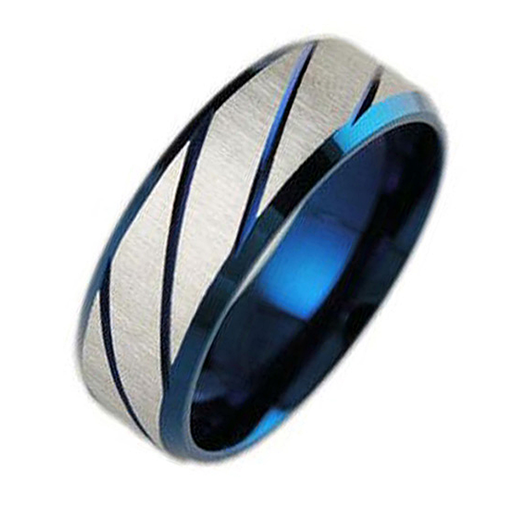 Stainless steel ring men jewelry blue titanium jewellery mens rings retro vintage male accessories party gift rock bague homme