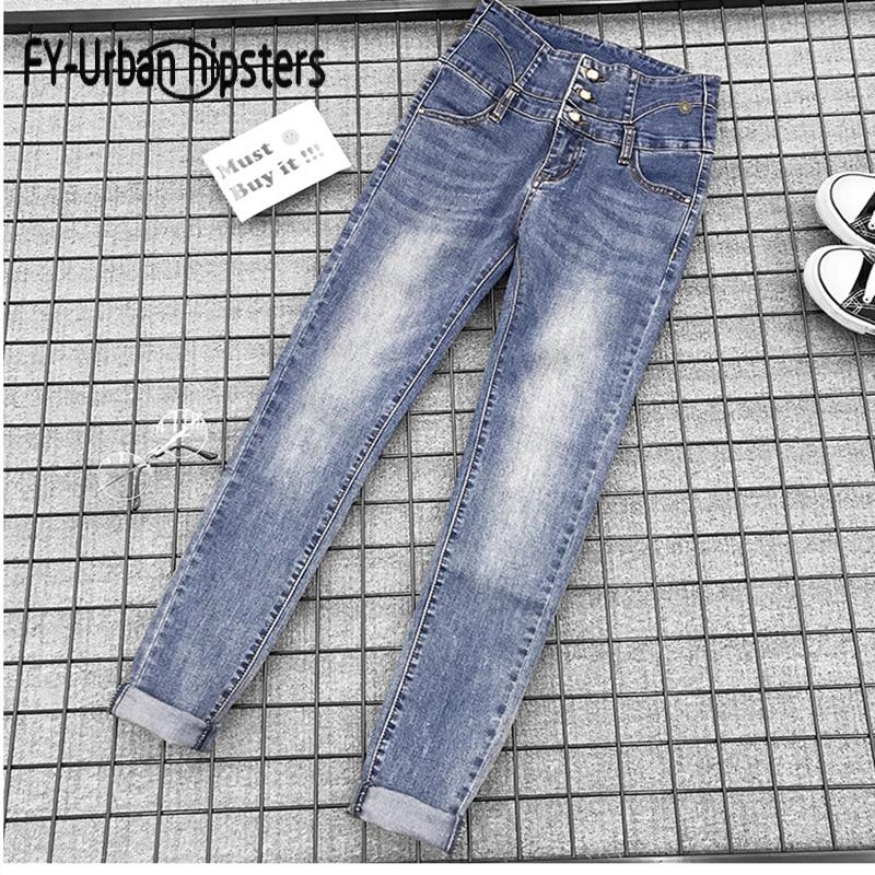 femme   jeans   2018 Fashion women skinny   jeans   high waist stretch elastic denim cotton pants sexy pencil Button   jeans   Boyfriend