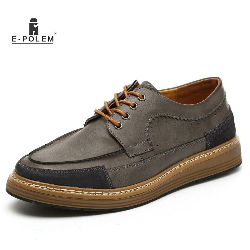 Robe grey Respirant Chaude Mode Vintage Up Chaussures Hommes Black Oxford brown En Véritable Printemps Automne khaki Cuir Lace Casual 2017 Vente BodxrCeW
